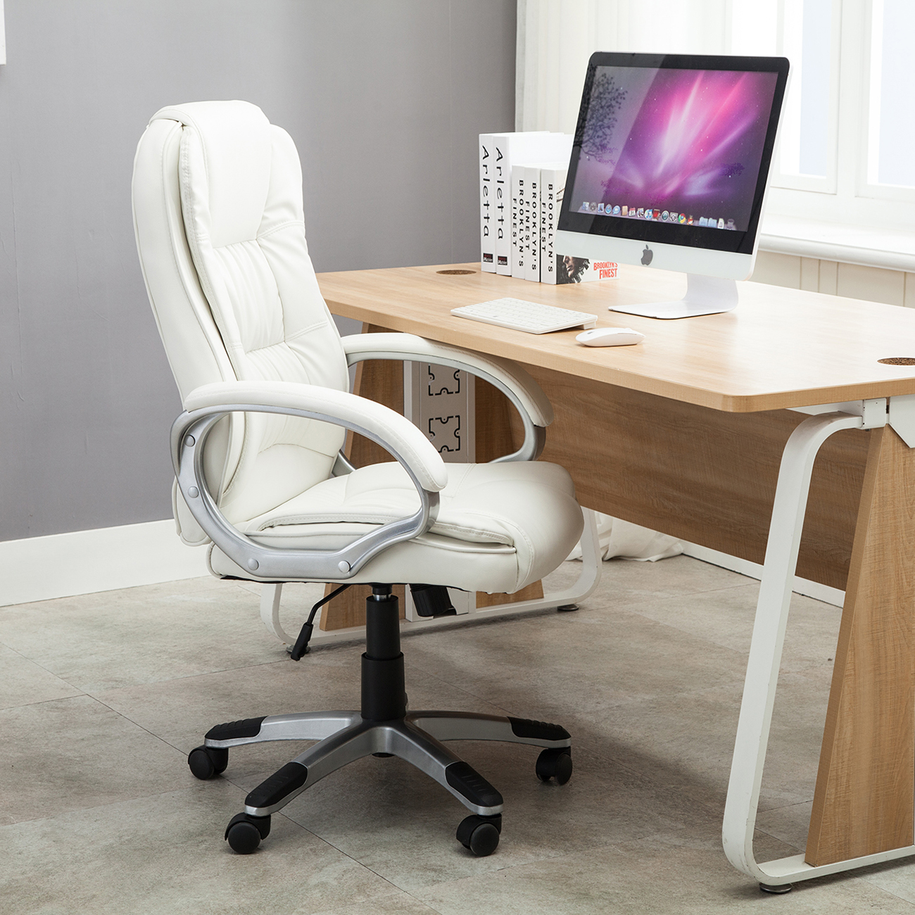 Comfortable Computer Chairs White Pu Leather High Back Office Chair Executive