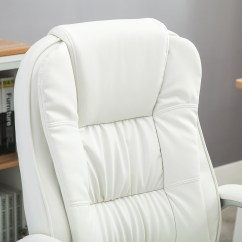 White Leather Computer Chair Rattan Bistro Chairs Canada Pu High Back Office Executive