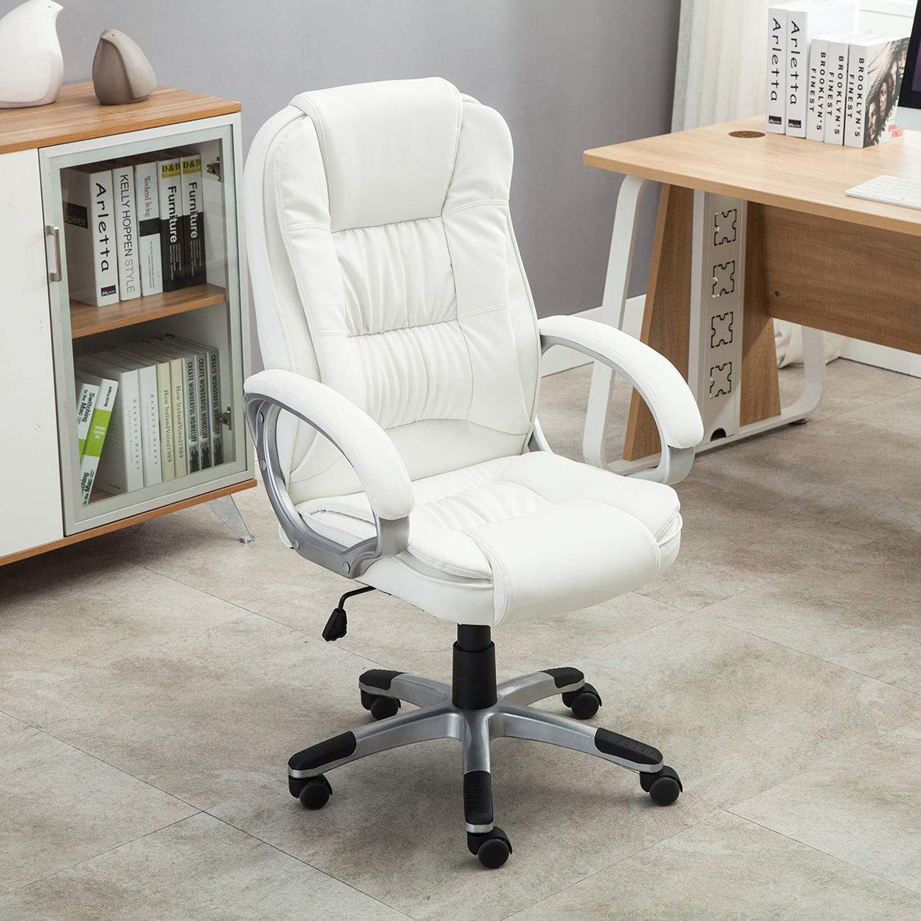 desk chairs white chair design vintage pu leather high back office executive