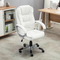 White PU Leather High Back Office Chair Executive ...