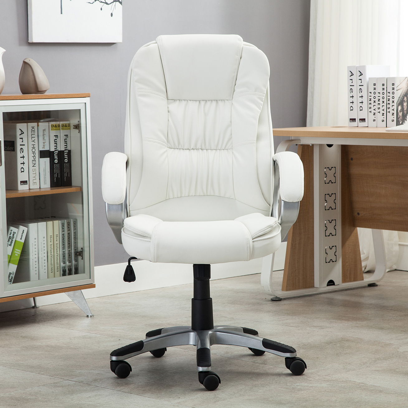 white leather computer chair gold dining chairs pu high back office executive