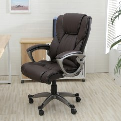 Pu Leather Office Chair Gordon Tufted Brown High Back Executive Task Ergonomic Computer Desk