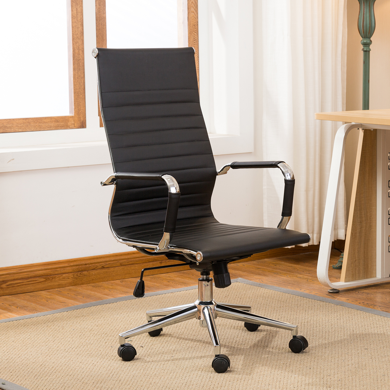 pu leather office chair papasan cushion etsy ergonomic ribbed high back executive computer