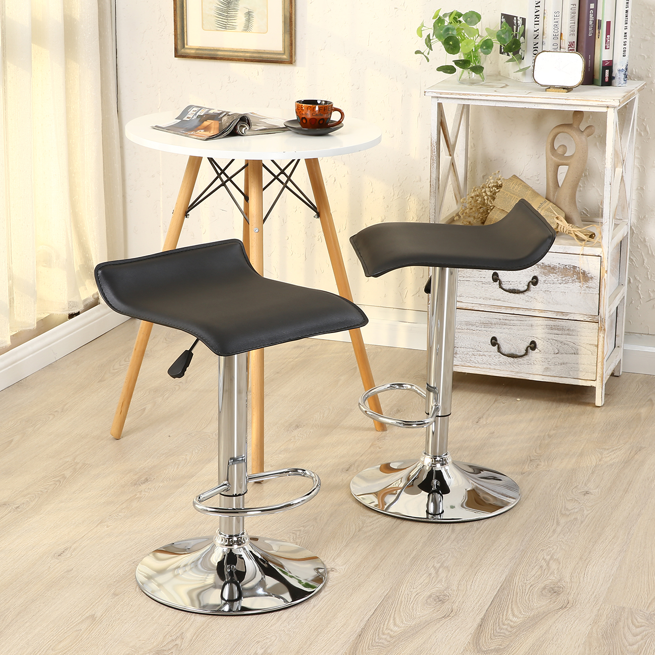 modern bar chairs 6 antique oak dining 2pc stools pu leather adjustable swivel