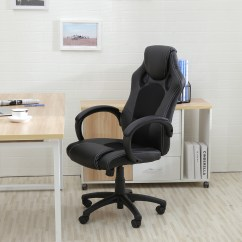 Black Leather Office Chair High Back Small Beach Chairs Uk Race Car Style Bucket Seat Executive Swivel Details About
