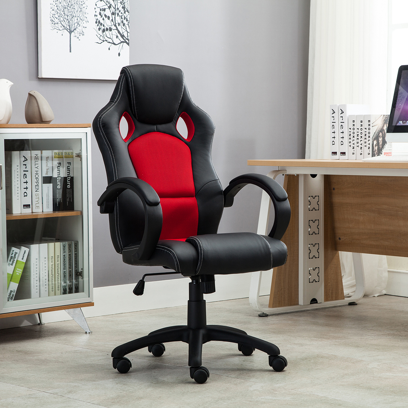 Comfortable Computer Chairs Office Chair Ergonomic Computer Mesh Pu Leather Desk Seat