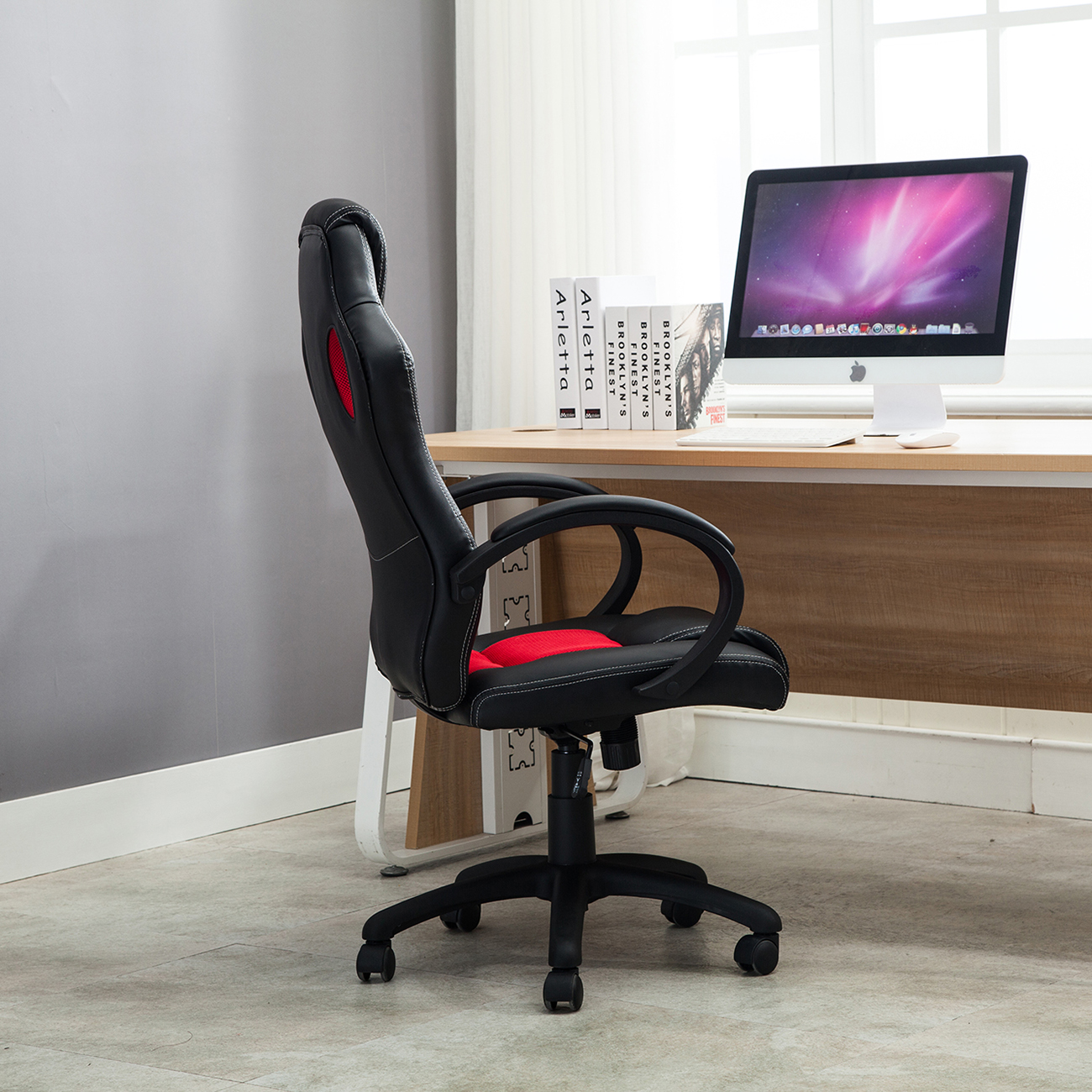 Racing Seat Office Chair Office Chair Ergonomic Computer Mesh Pu Leather Desk Seat