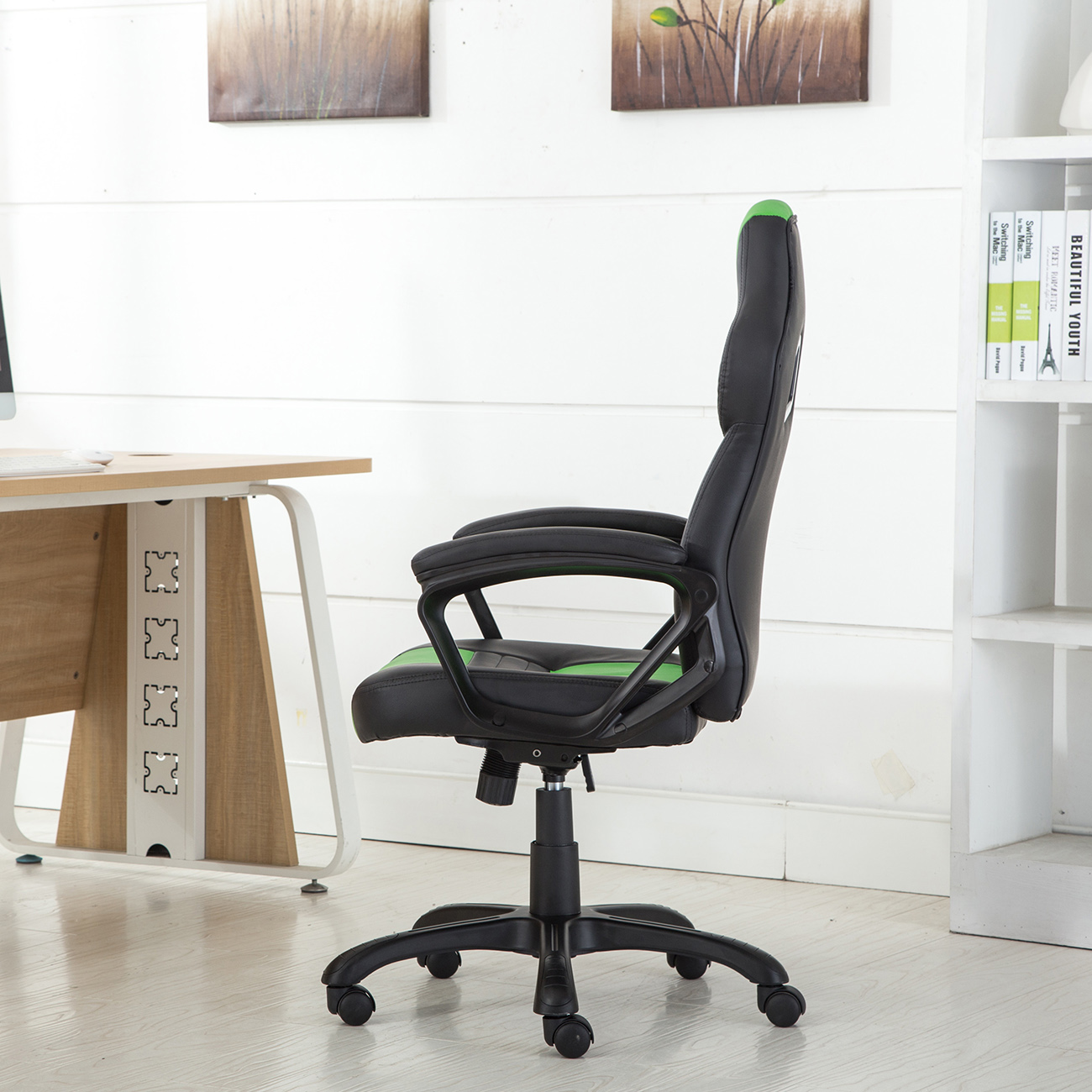 Green Computer Chair Office Chair Ergonomic Computer Pu Leather Desk Swivel