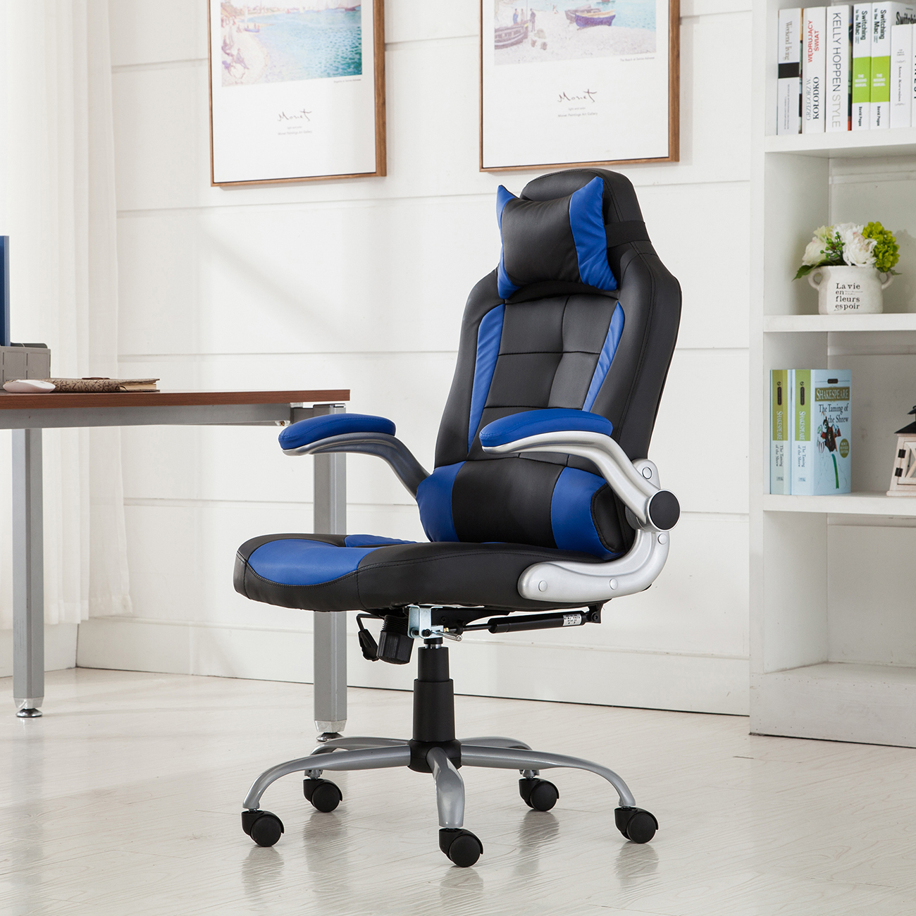 reclining gaming chair conference room table and chairs racing office back game padded headrest pu