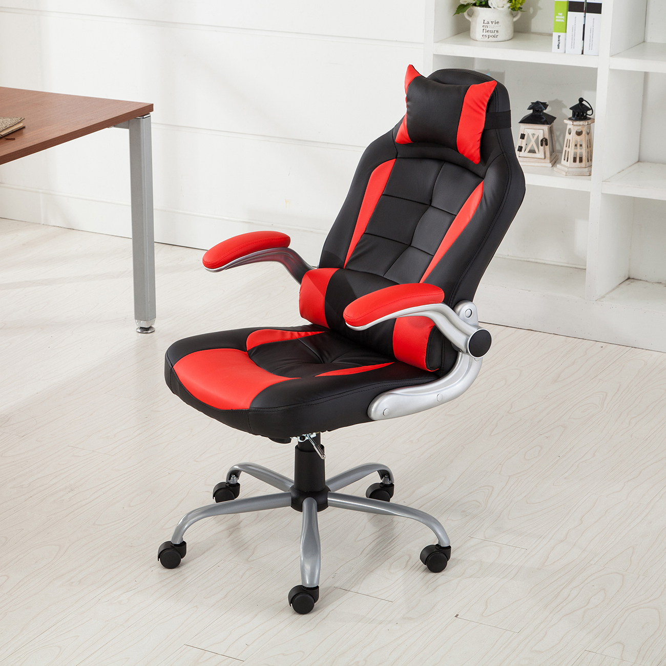 Racing Office Chair Reclining Back Game Padded Headrest PU