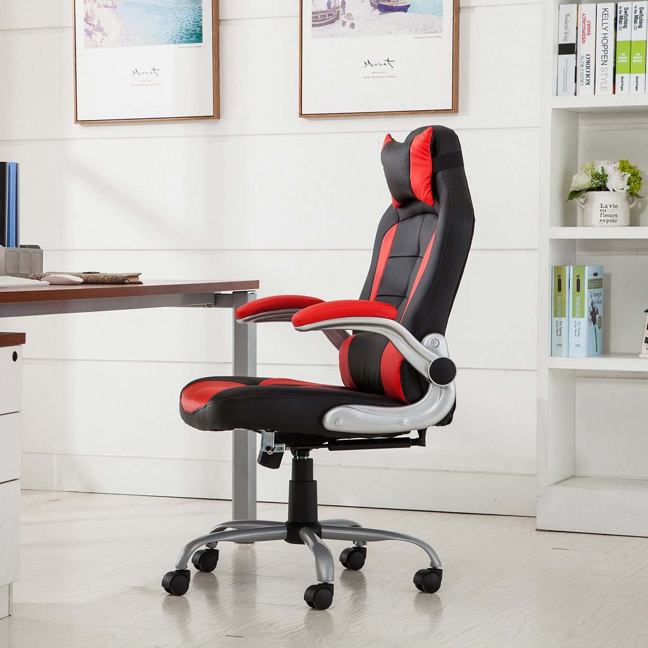 reclining video game chairs comfortable dining room racing office chair back padded headrest pu
