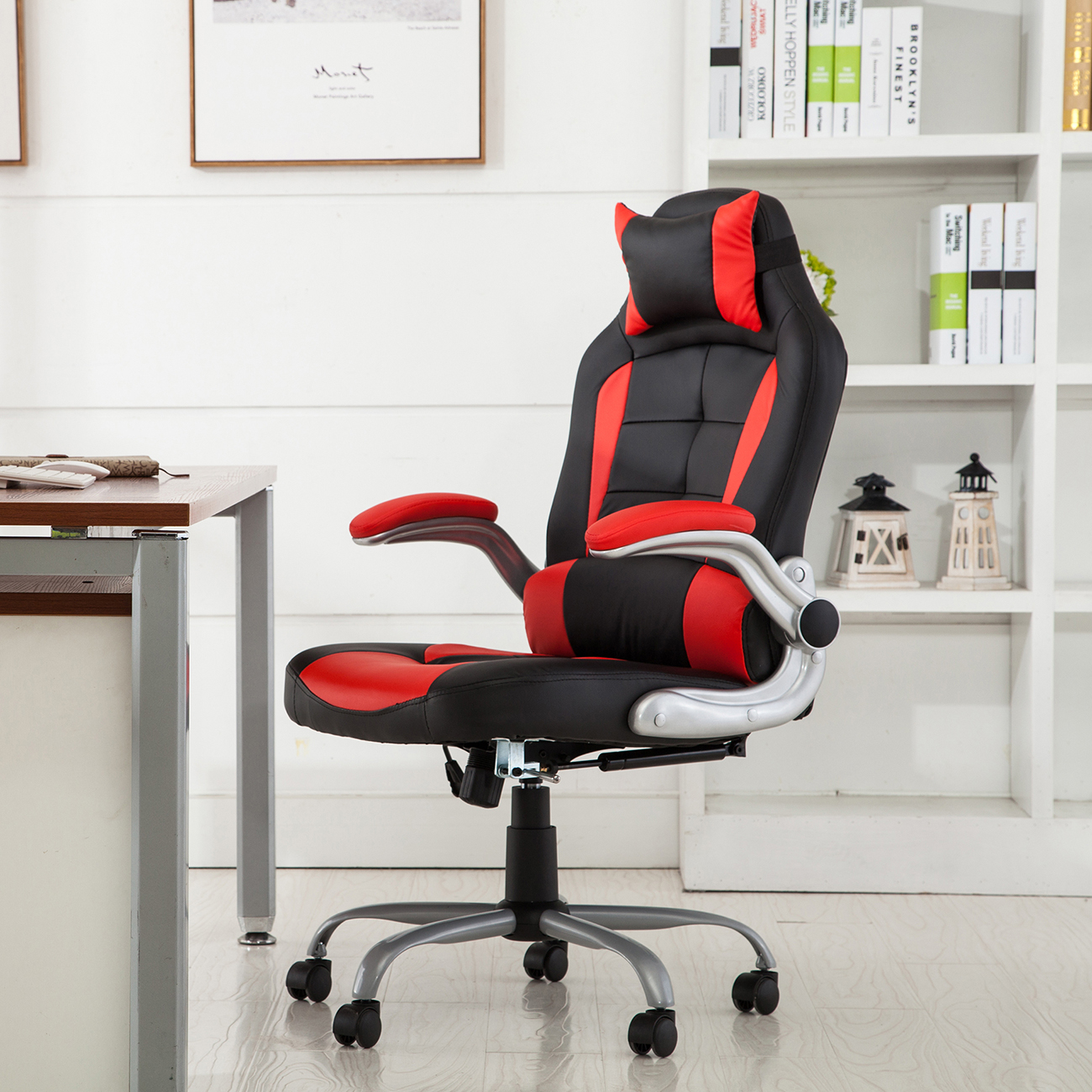 padded office chair double high racing reclining back game headrest pu