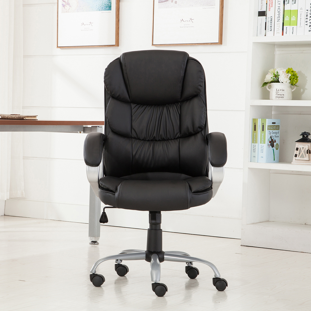 Black Desk Chair Pu Leather Office Rolling Computer Chair Black Mocha High
