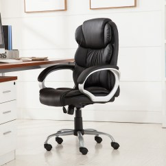 High Desk Chair Table With Storage Pu Leather Ergonomic Back Executive Best Task