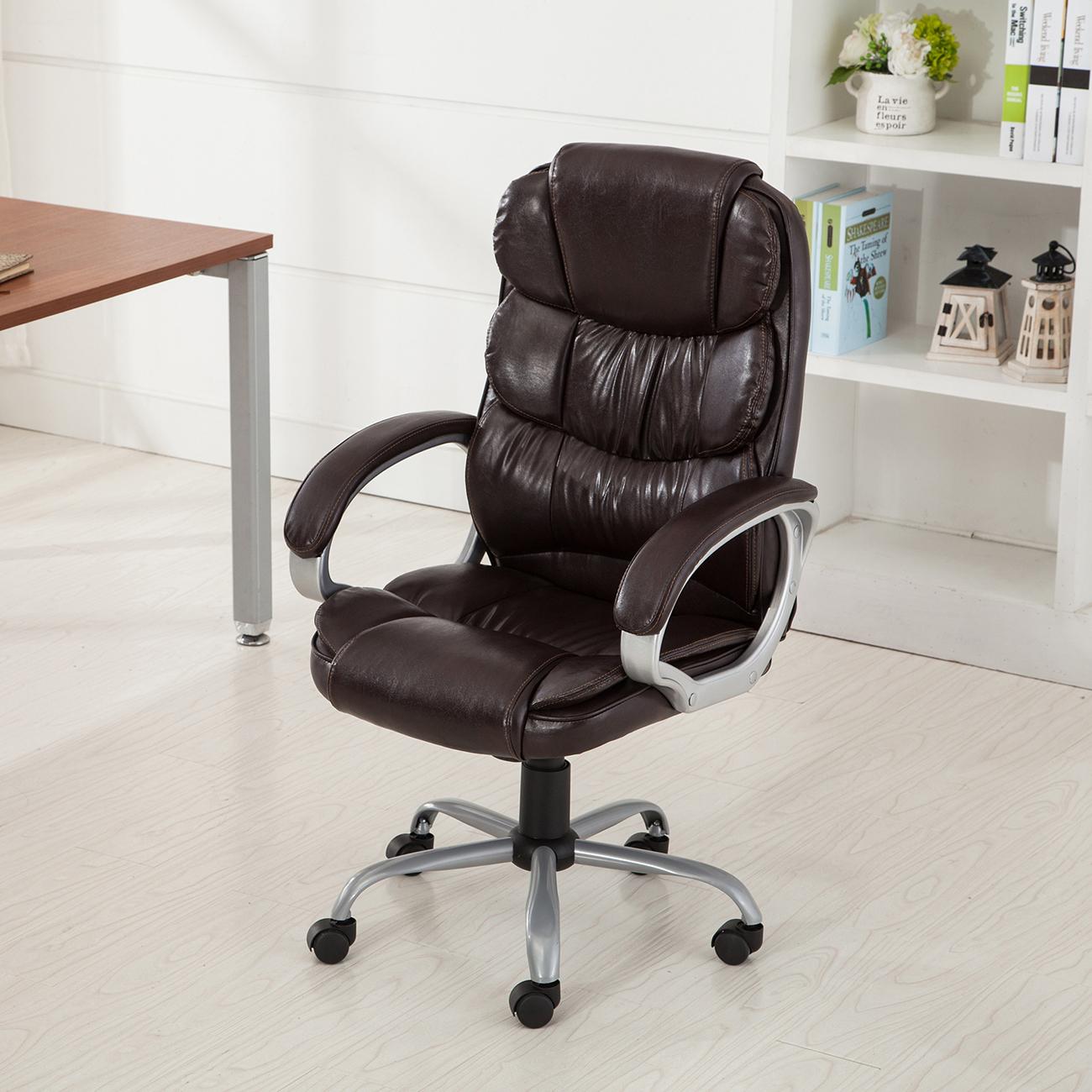 PU Leather Office Rolling Computer Chair Black Mocha High Back Executive Desk  eBay