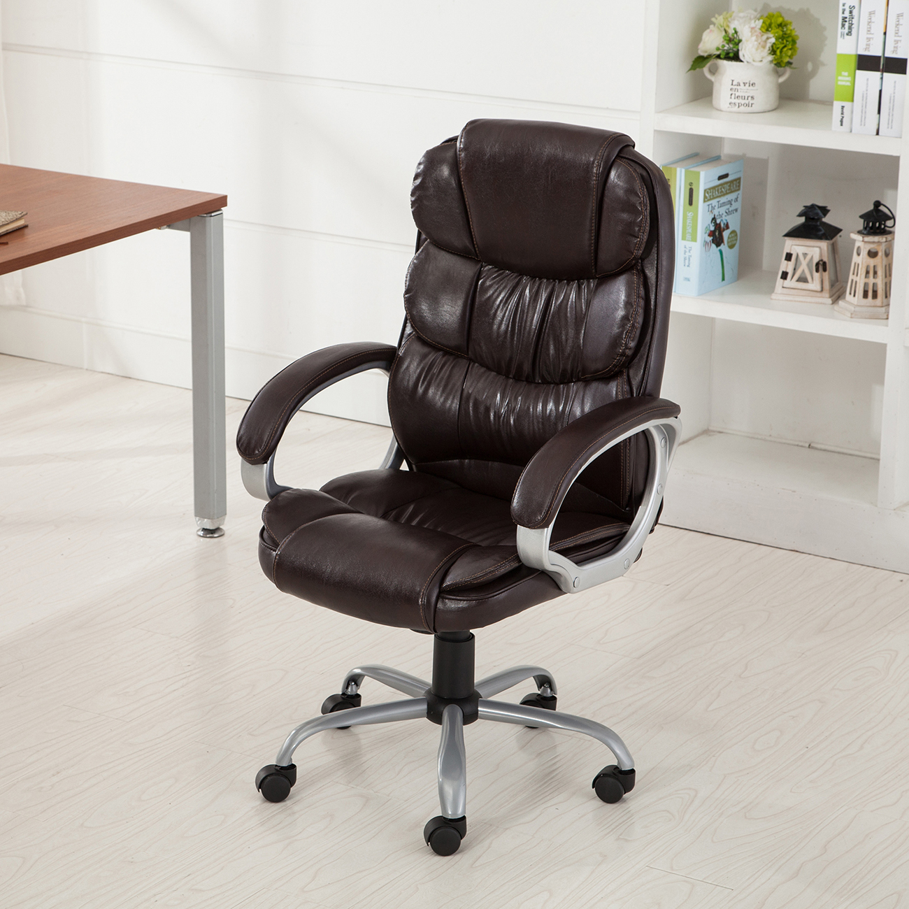 Rolling Desk Chairs Pu Leather Office Rolling Computer Chair Black Mocha High