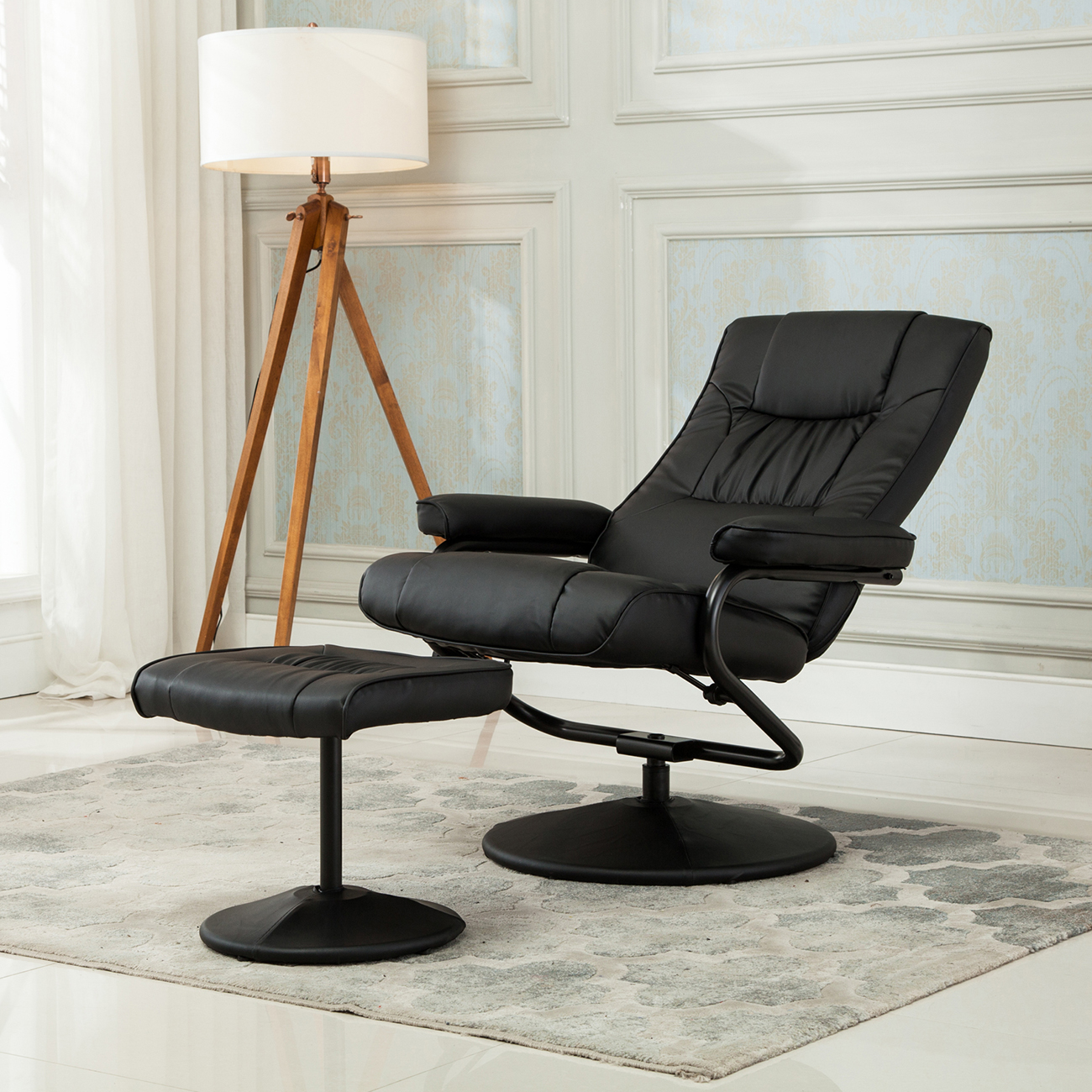 chair stool with footrest embody review recliner swivel armchair lounge seat w