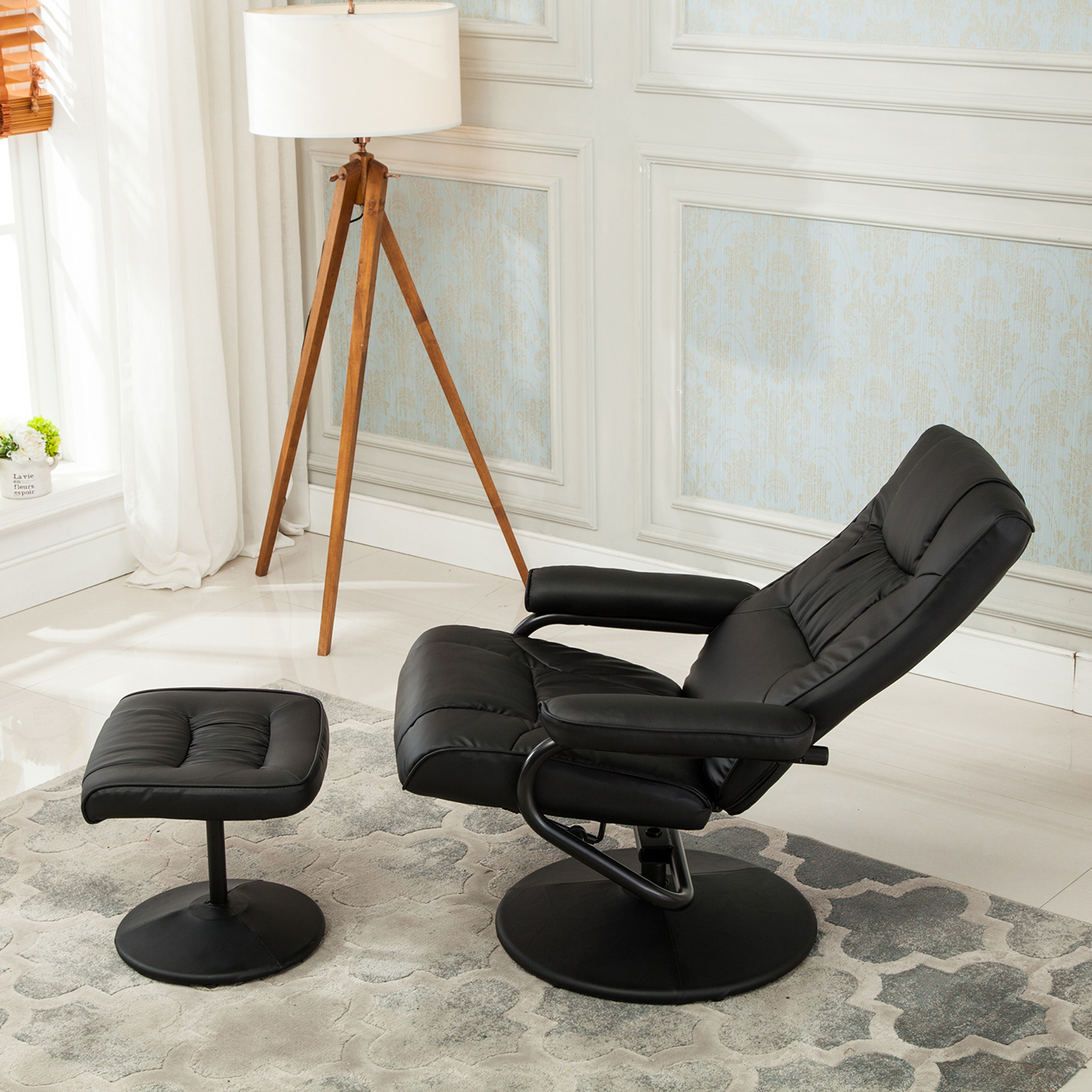 chair stool with footrest desk exercise ball size recliner swivel armchair lounge seat w