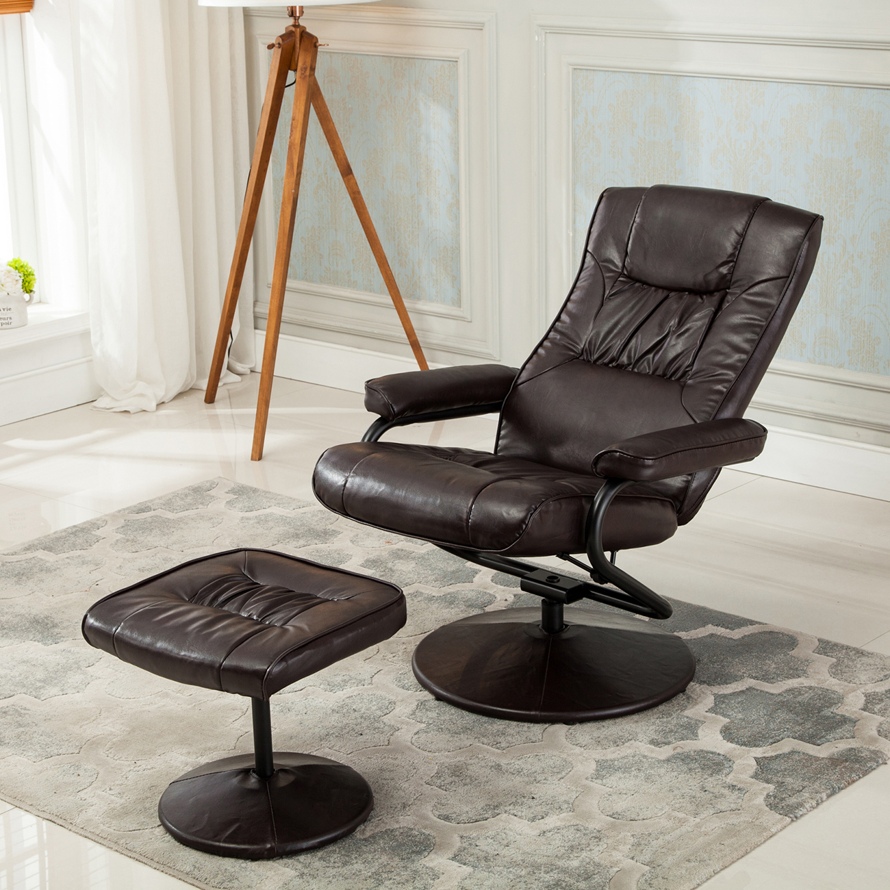 Leather Swivel Recliner Chairs Recliner Chair Swivel Armchair Lounge Seat W Footrest