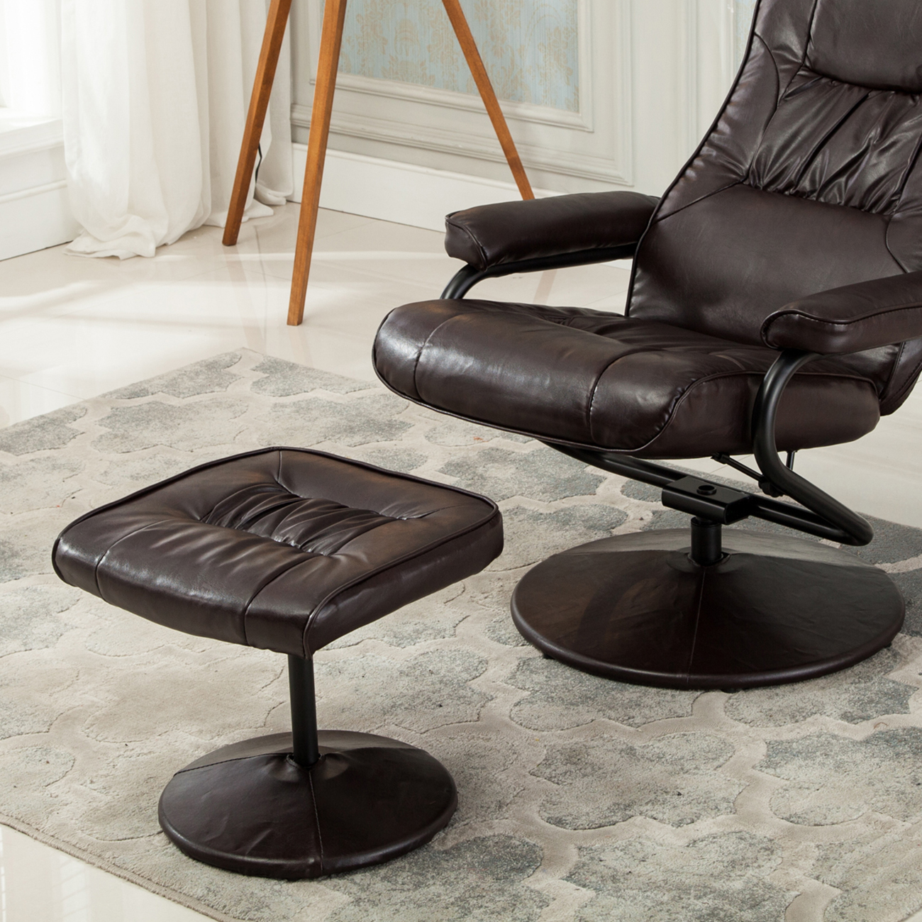 faux leather recliner chair plush new executive seat swivel