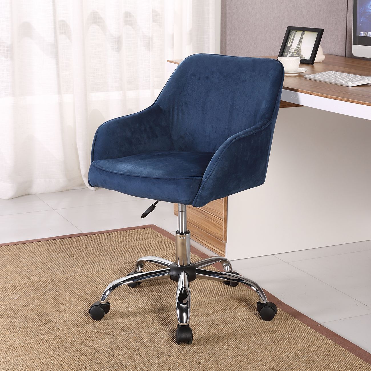 Velvet Desk Chair Modern Office Chair Task Desk Adjustable Swivel Height W