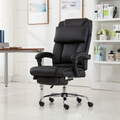 Reclining Office Chair With Footrest India Black Upholstered Dining Executive Ergonomic High Back