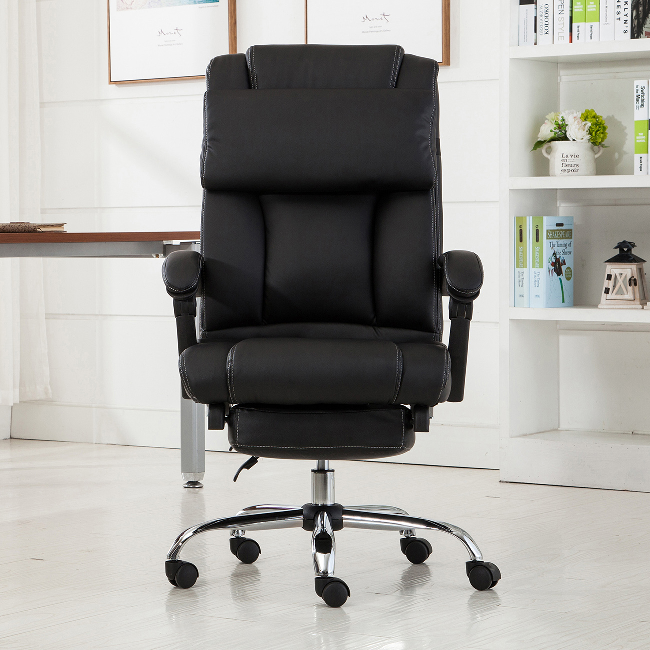 reclining office chair with footrest india types of folding chairs executive ergonomic high back