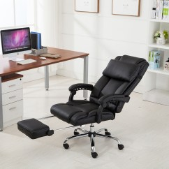 Ergonomic Chair With Footrest Attached Table Executive Reclining Office High Back Leather Details About Armchair