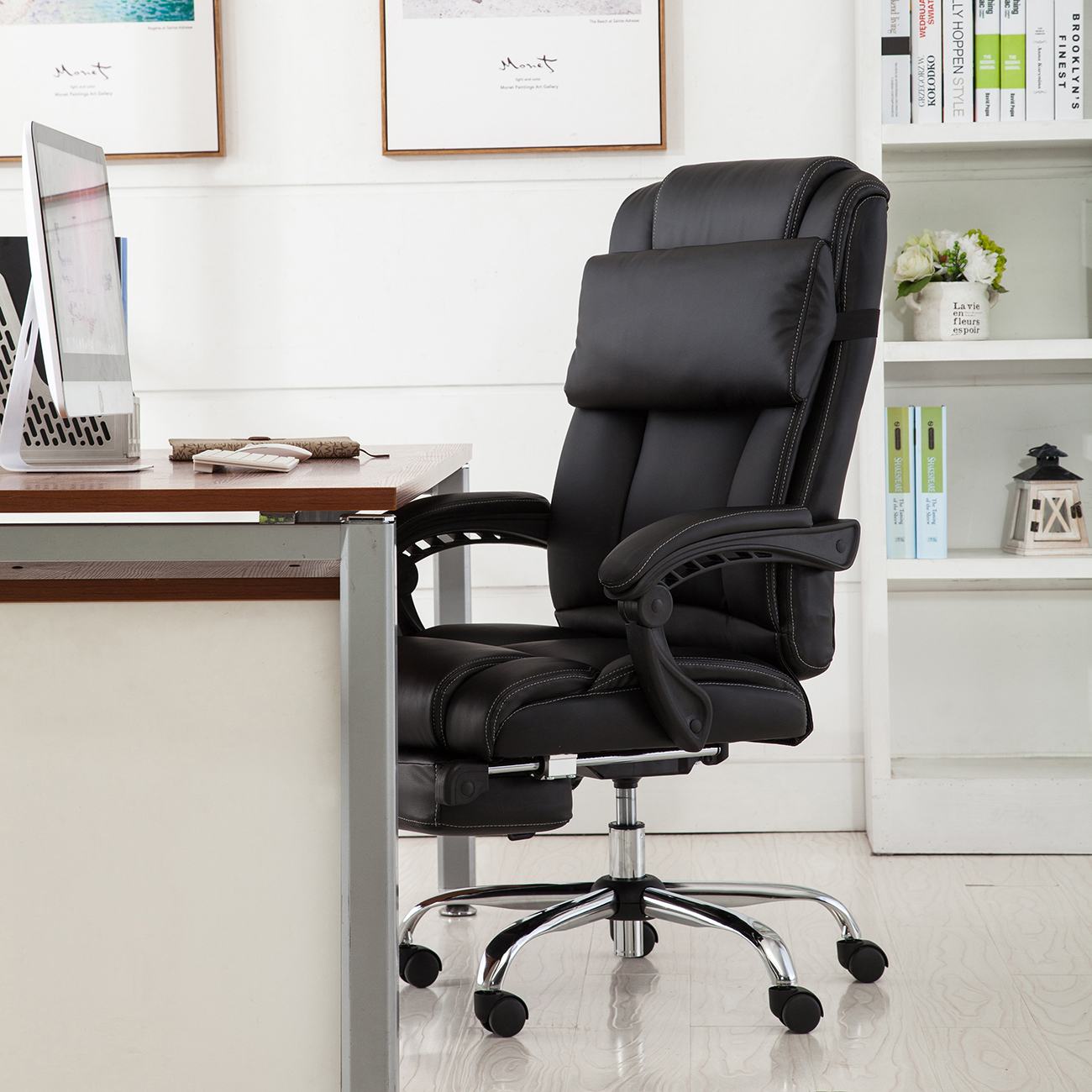 reclining office chair with footrest india white covers bed bath and beyond executive ergonomic high back