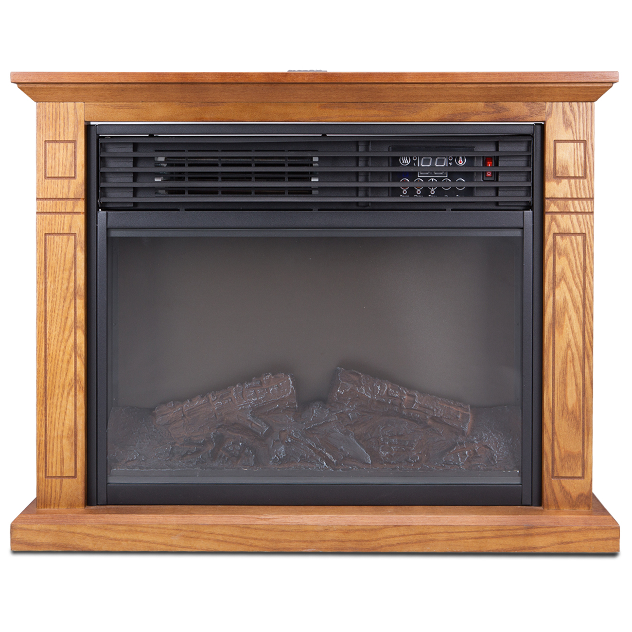Large Room Electric Quartz Infrared Fireplace Heater Deluxe Mantel Oak  Walnut  eBay