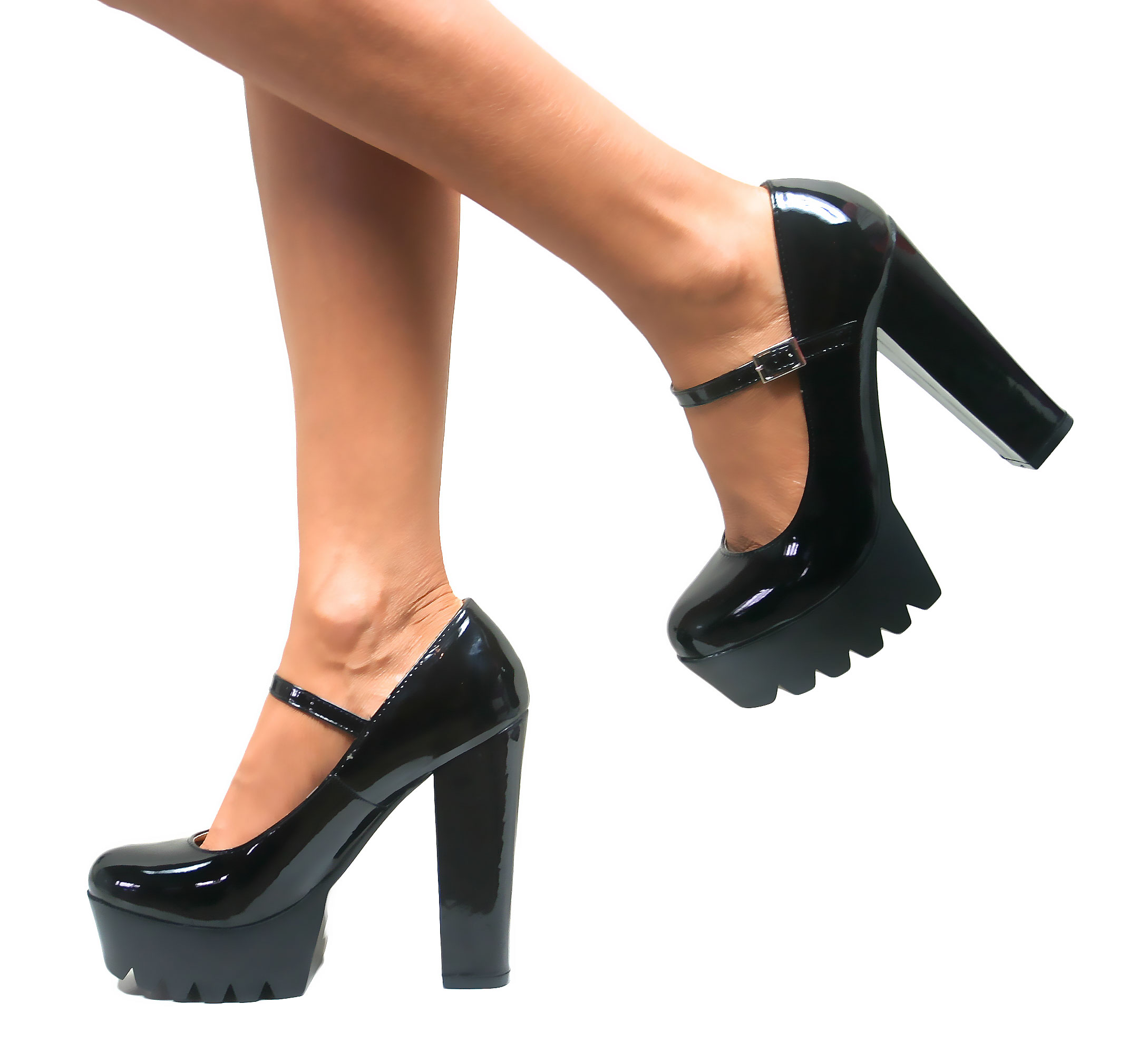 Womens Chunky Cleated Sole Mary Jane Platform Block High