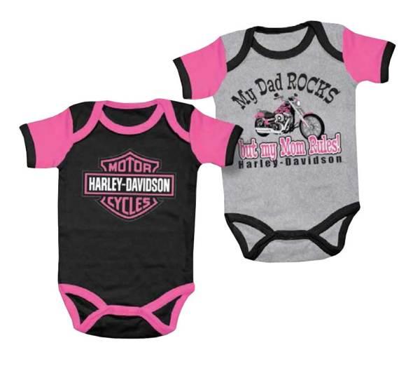 Harley-davidson Baby Girls' Mom Rules Creeper Set 2 Pack