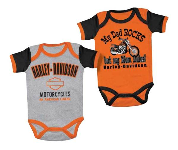 Harley-davidson Baby Boys' Mom Rules Creeper Set 2 Pack