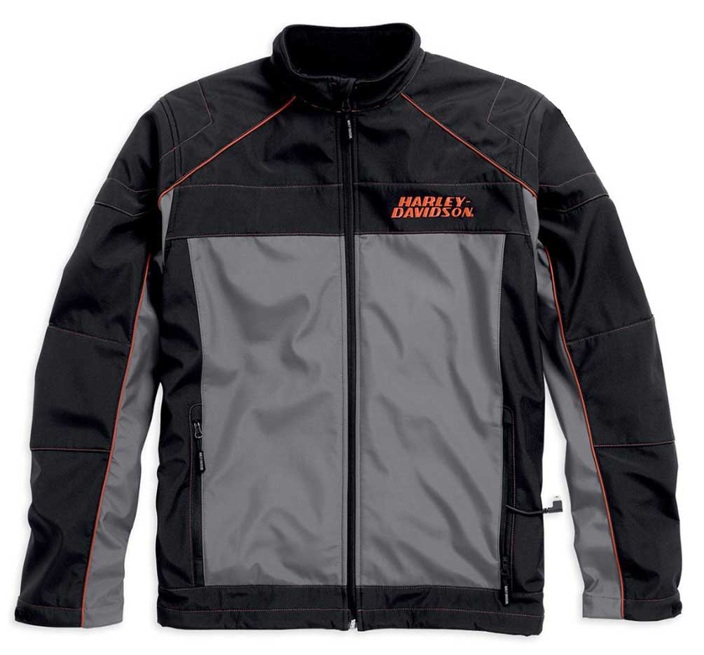 HarleyDavidson Mens Recumbent Heated Soft Shell Jacket Black 9855615VM  eBay