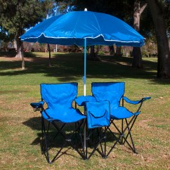 Double Camp Chair La Z Boy Lift Hand Control Picnic Folding W Umbrella Table Cooler Fold