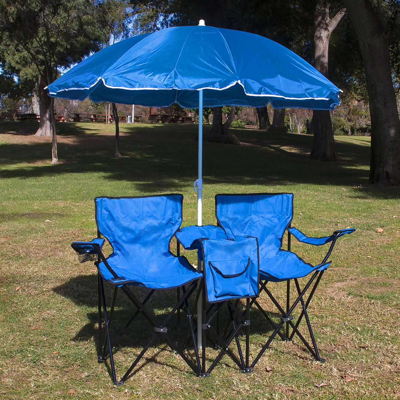 Double Folding Camping Chair Picnic Double Folding Chair W Umbrella Table Cooler Fold