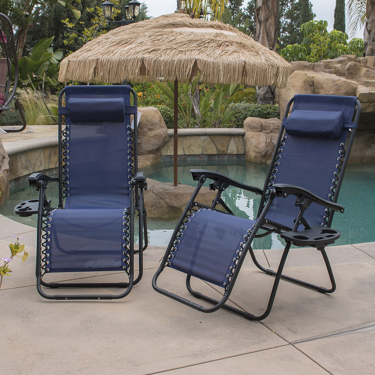 Commercial Pool Lounge Chairs Zero Gravity Chairs Case Of 2 Blue Lounge Patio Chair