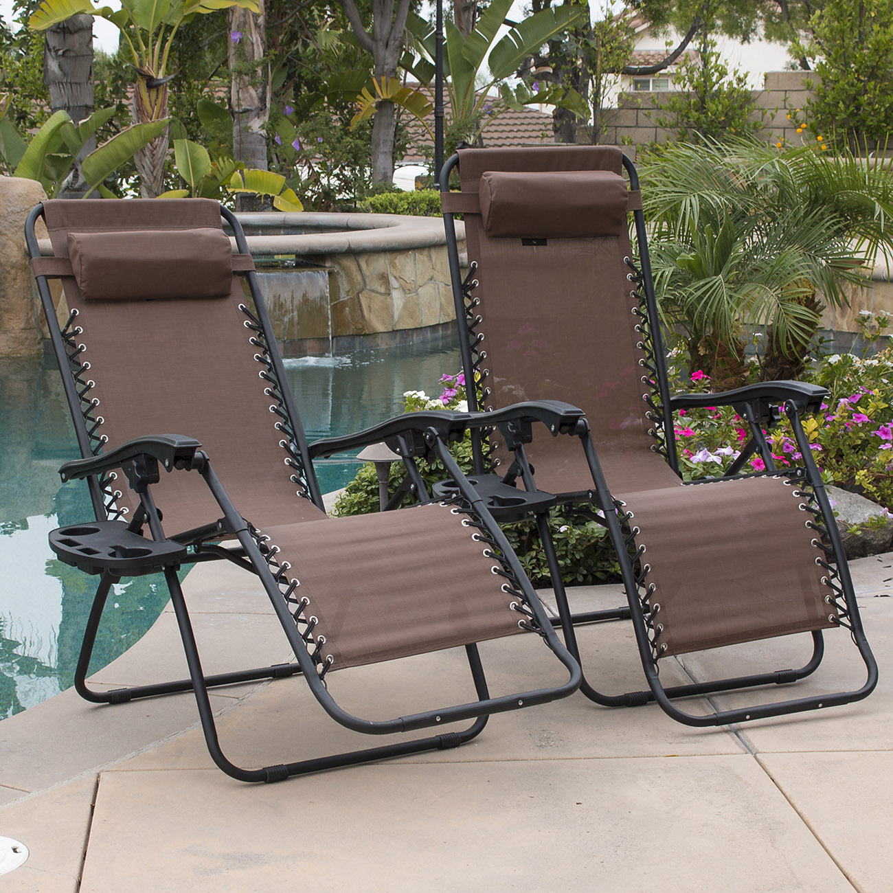 Camping Lounge Chair 2pc Brown Zero Gravity Lounge Chairs Recliner Outdoor