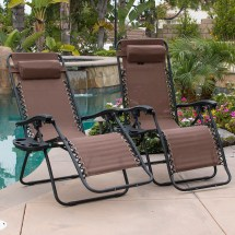 2-pcs Brown Gravity Lounge Chairs Recliner Outdoor