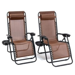 Zero Gravity Pool Chairs Cheap Chair Covers For Sale Uk 1 Pair Brown Lounge Recliner Outdoor