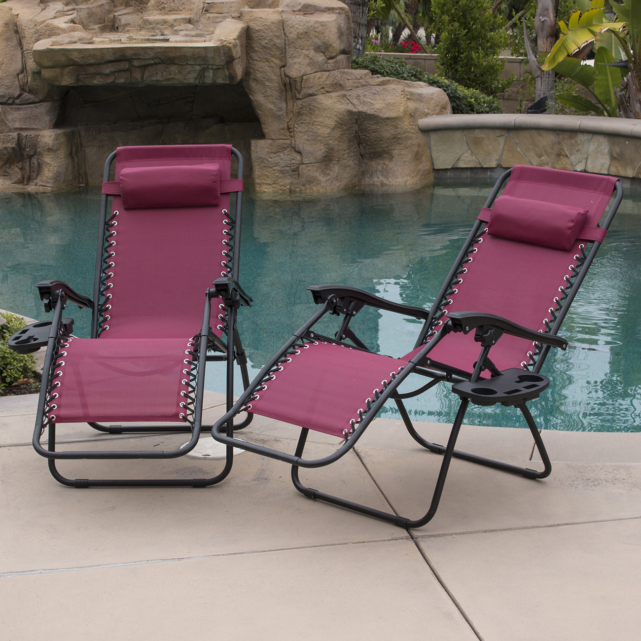 Commercial Pool Lounge Chairs 2 Set Lounge Chair Zero Gravity Folding Recliner Patio