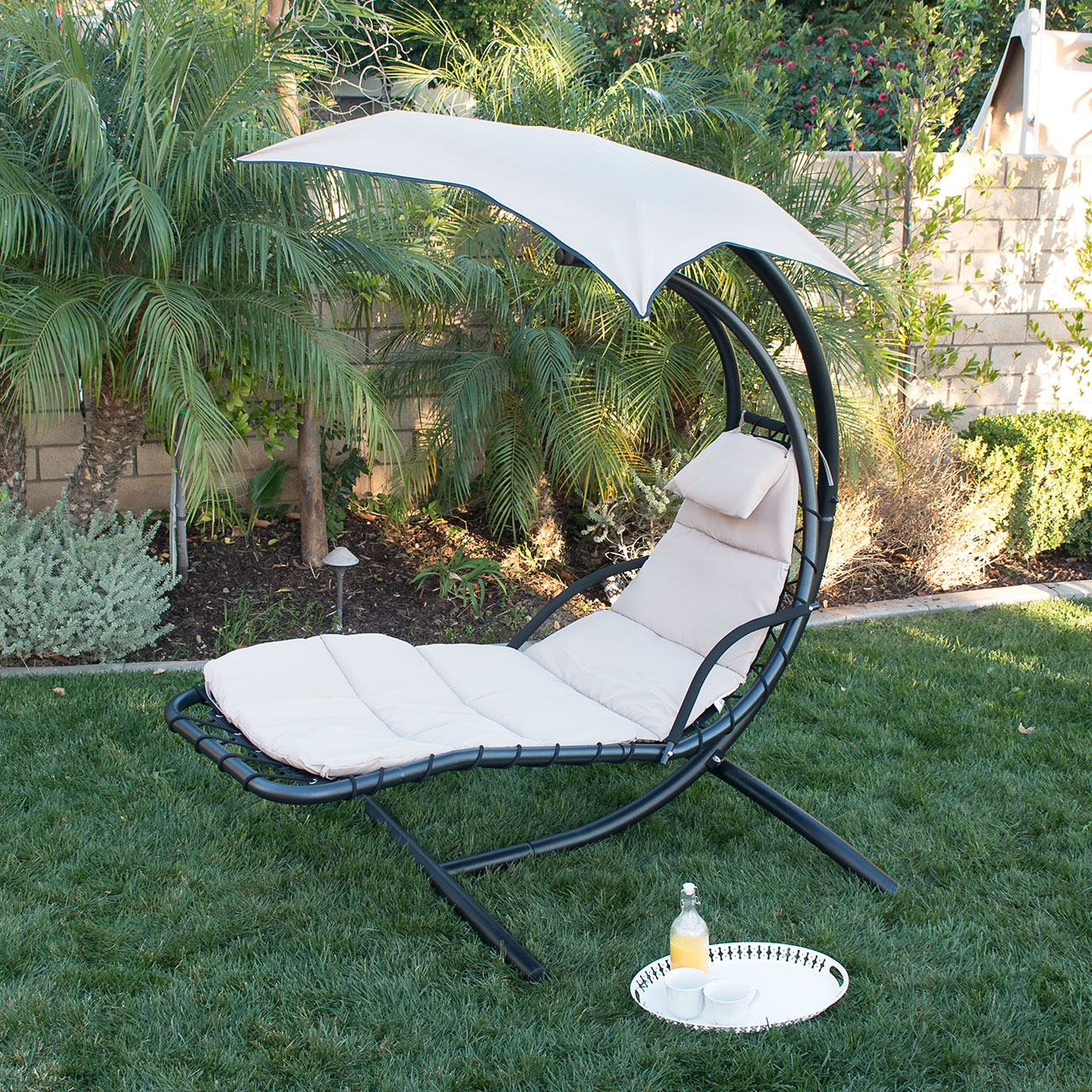 Outdoor Chair With Canopy Hanging Chaise Lounge Chair Hammock Swing Canopy Glider