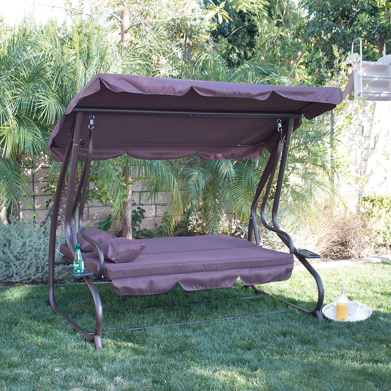 swing chair plan wicker wingback cushions outdoor porch bed patio deck seat furniture brown