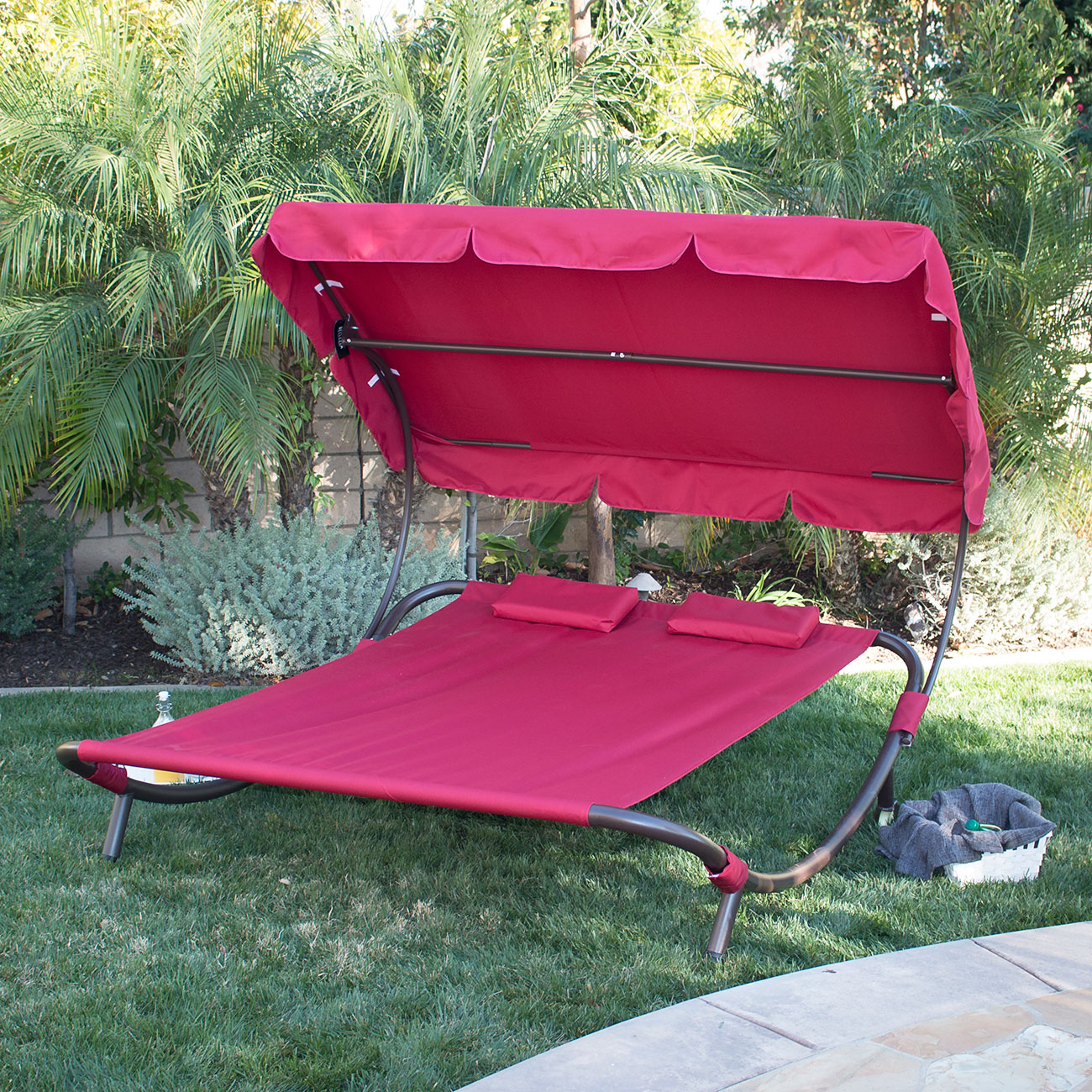 double lounge chair outdoor grain sack wide patio pool hammock bed lounger