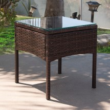 3 Pcs Brown Rattan Wicker Chair Table Patio Outdoor
