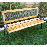 "Outdoor 50"" Patio Porch Deck Hardwood Cast Iron Garden ..."