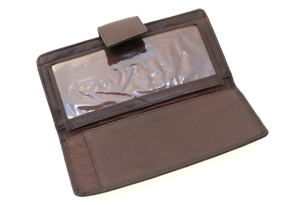Womens Clutch Checkbook Wallet Frame Clip Closed Genuine