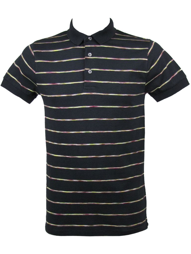 medium resolution of french connection striped polo t shirt darkest blue