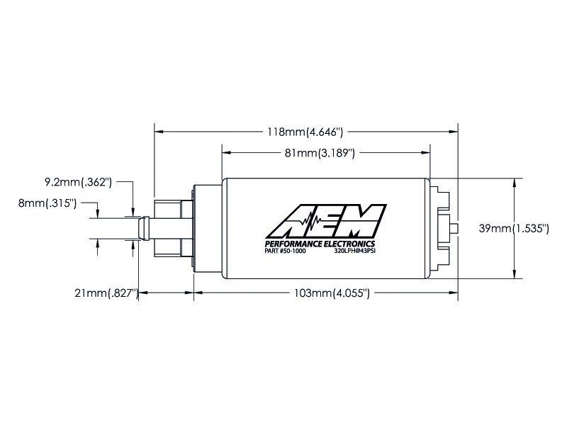 AEM Electronics 50-1000 320LPH High Flow In-Tank Fuel Pump