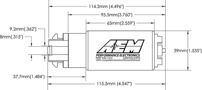 AEM Electronics 50-1200 320LPH Hi Flow In-Tank Fuel Pump